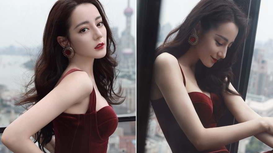 迪麗熱巴好身材 引熱議!超顯白「紅絲絨貼身禮服」美照連發